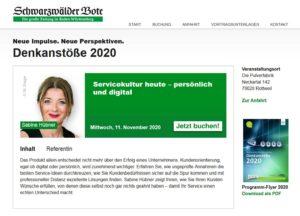 Denkanstoesse 2020-11 Vortrag Hübner Sabine Servicekultur