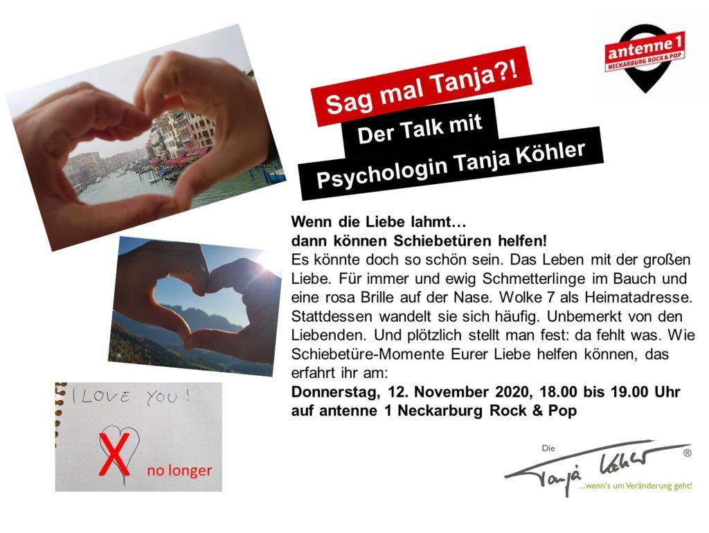 Radiopsychologin Tanja Köhler antenne 1 neckarburg wenn die Liebe lahmt