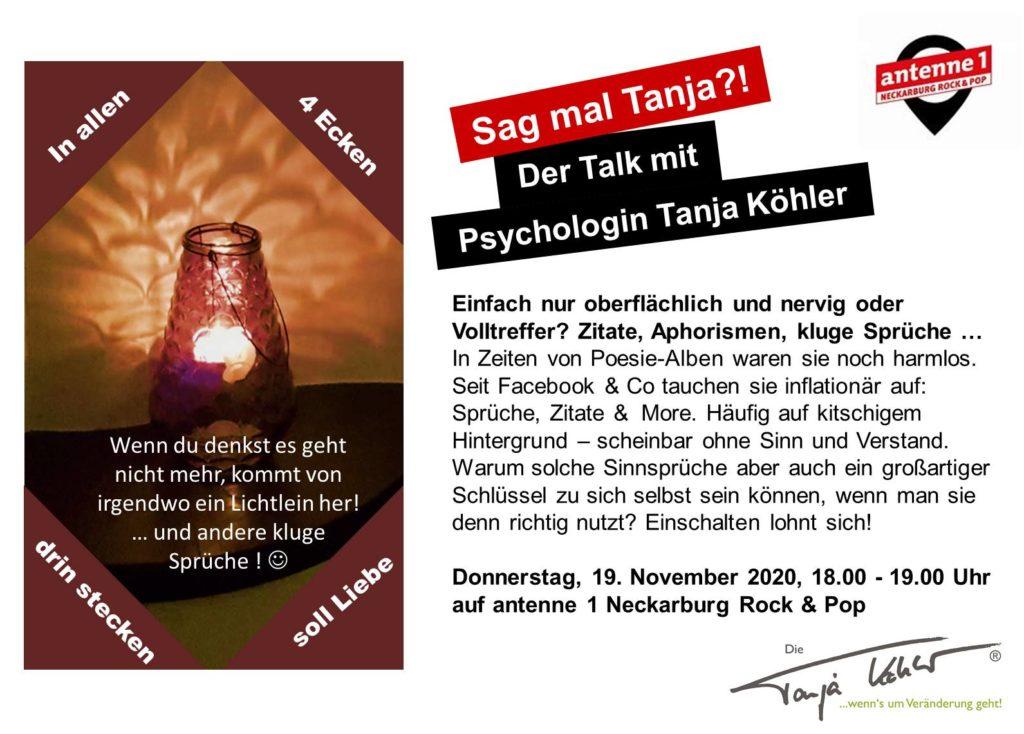 Radiopsychologin Tanja Köhler antenne 1 Neckarburg Aphorismen Zitate