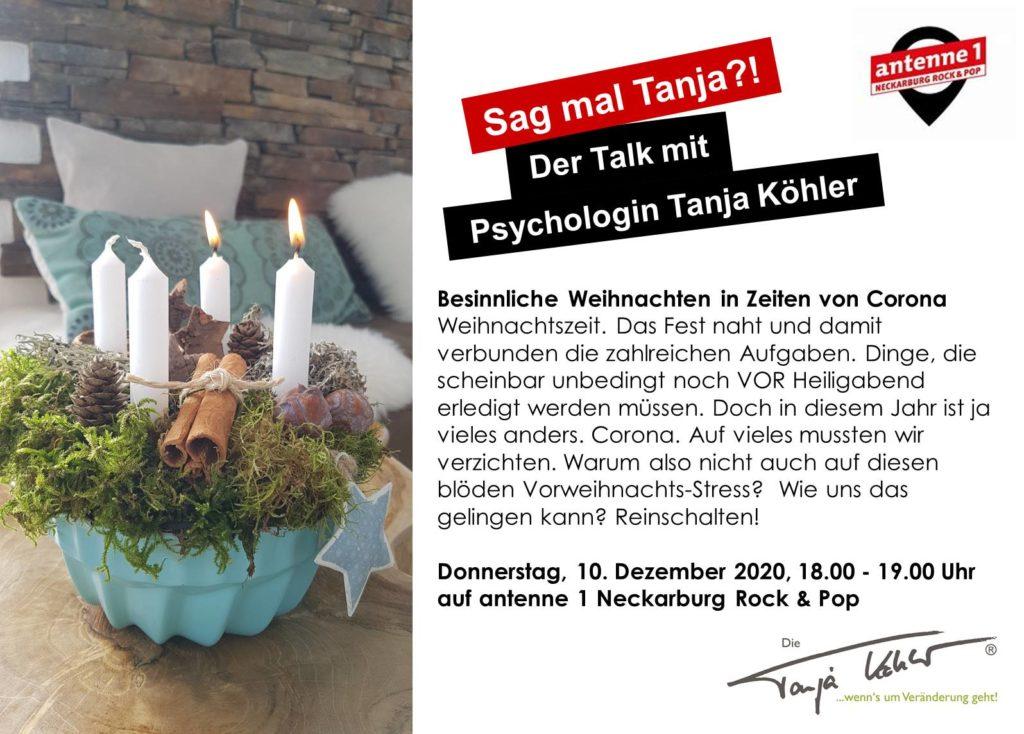 Radiopsychologin Tanja Köhler antenne 1 Neckarburg Besinnliche Corona Weihnachten
