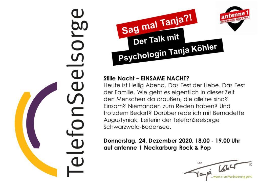 Radiopsychologin Tanja Köhler antenne 1 Neckarburg Telefonseelsorge Weihnachten