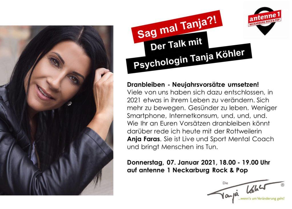 Radiopsychologin Tanja Köhler antenne 1 Neckarburg Anja Faras Mindset Coaching