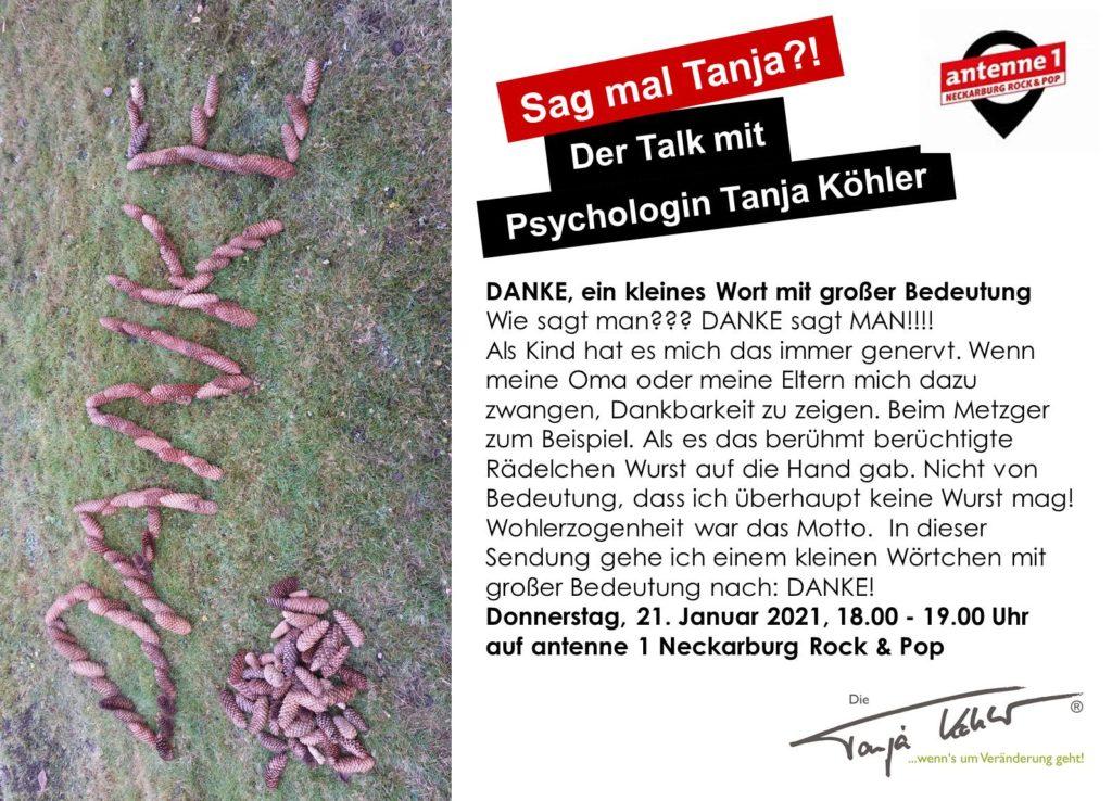 Radiopsychologin Tanja Köhler antenne 1 Neckarburg Danke Dankbarkeit