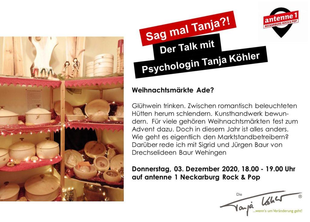 Radiopsychologin Tanja Köhler antenne 1 Neckarburg Weihnachtsmärkte ade