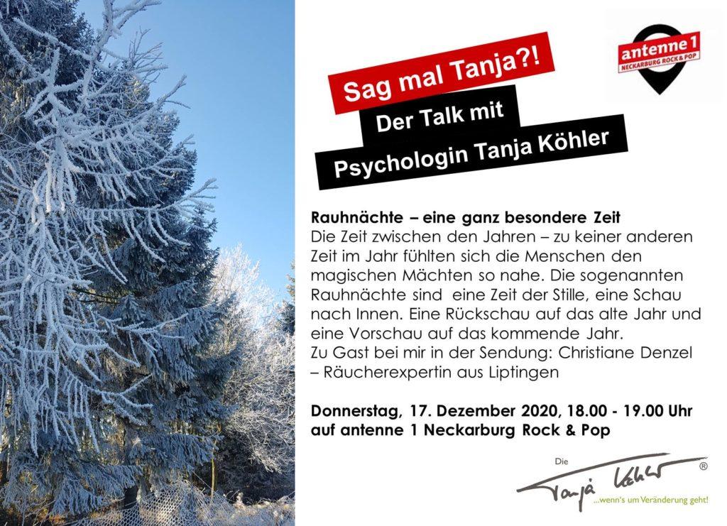 Radiopsychologin Tanja Köhler antenne 1 Neckarburg Rauhnächte